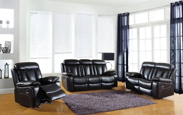 HomeRoots Modern Black Leather Sturdy 3pc Living Room Sets OCN-32943-LR-S-VAR