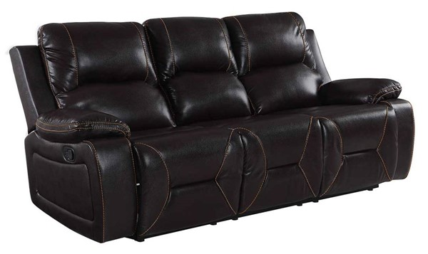 HomeRoots Brown Leather Classy Sofa OCN-329439