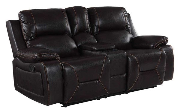 HomeRoots Brown Leather Classy Loveseat OCN-329440