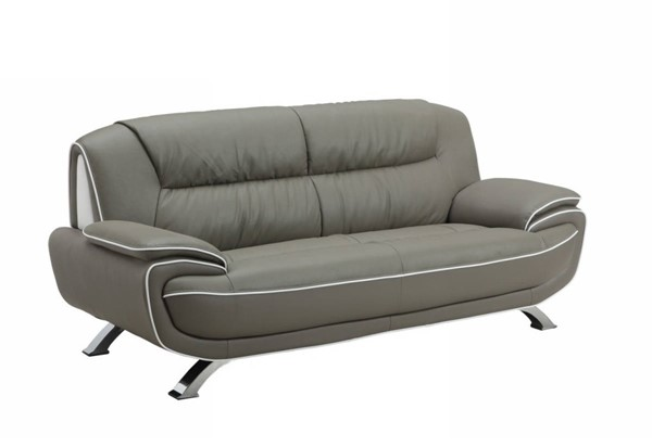 HomeRoots Modern Gray Leather Sleek Sofa OCN-329467