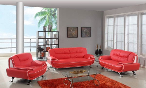 HomeRoots Modern Red Leather Sleek 3pc Living Room Set OCN-329470