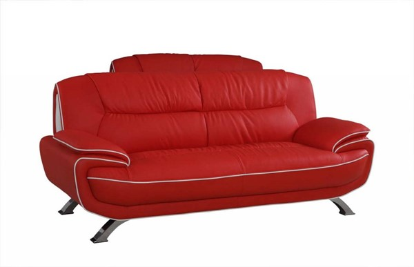 HomeRoots Modern Red Leather Sleek Sofa OCN-329471