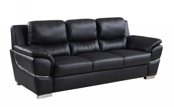 HomeRoots Modern Black Leather Chic Sofa OCN-329475