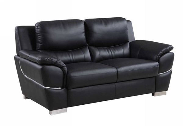 HomeRoots Modern Black Leather Chic Loveseats OCN-32947-LS-VAR