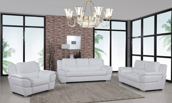 HomeRoots Modern White Leather Chic 3pc Living Room Set OCN-329478