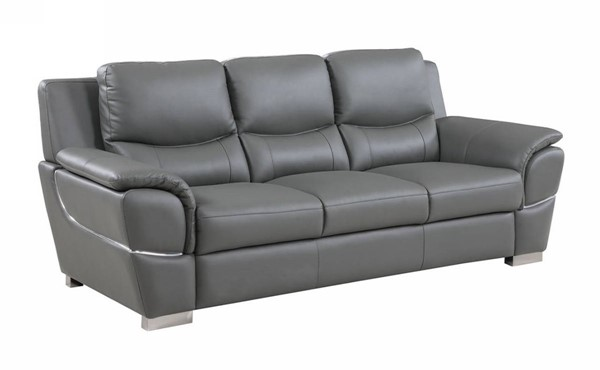 HomeRoots Modern Gray Leather Chic Sofa OCN-329483