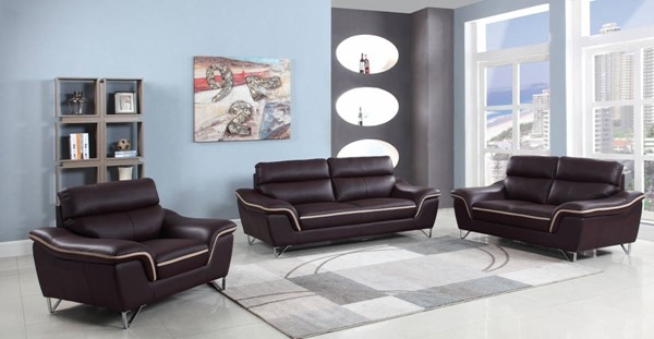 HomeRoots Contemporary Brown Leather Charming 3pc Living Room Set OCN-329486