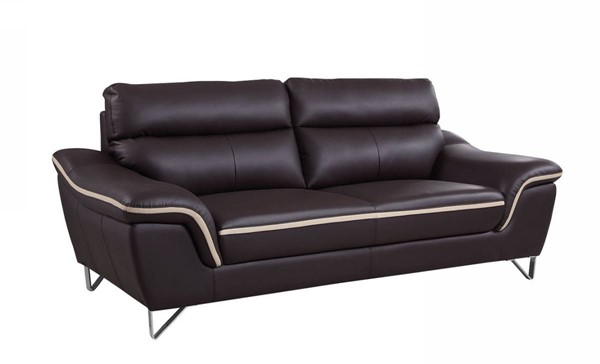 HomeRoots Contemporary Brown Leather Charming Sofa OCN-329487
