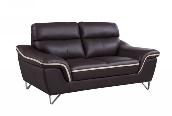 HomeRoots Contemporary Brown Leather Charming Loveseat OCN-329488