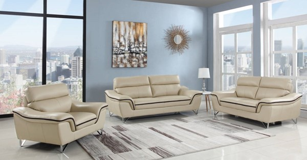 HomeRoots Contemporary Beige Leather Charming 3pc Living Room Set OCN-329490