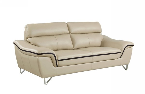 HomeRoots Contemporary Beige Leather Charming Sofa OCN-329491