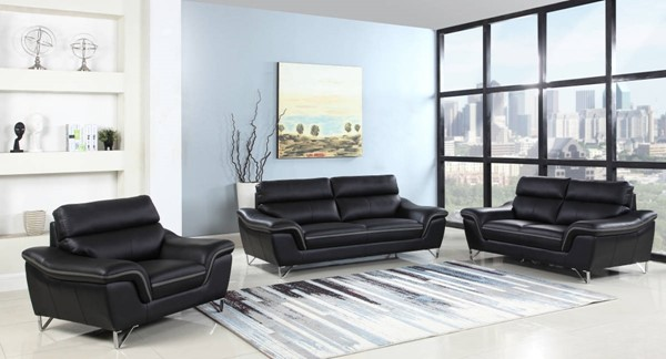 HomeRoots Contemporary Black Leather Charming 3pc Living Room Set OCN-329494