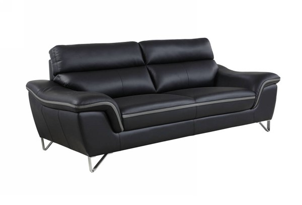 HomeRoots Contemporary Black Leather Charming Sofa OCN-329495