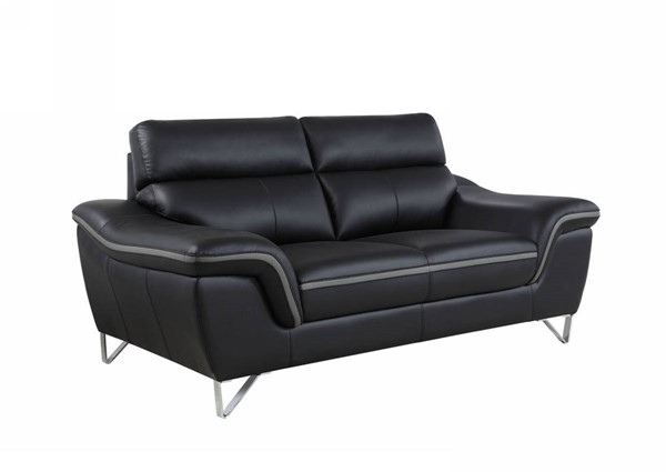 HomeRoots Contemporary Black Leather Charming Loveseat OCN-329496
