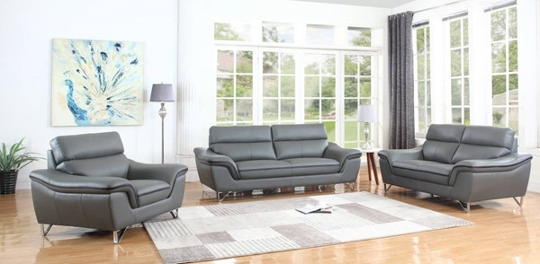 HomeRoots Contemporary Gray Leather Charming 3pc Living Room Set OCN-329498