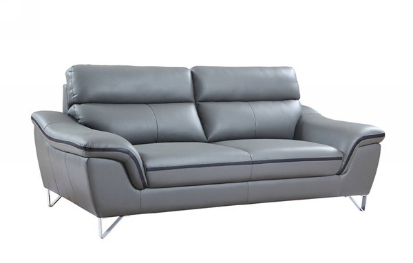 HomeRoots Contemporary Gray Leather Charming Sofa OCN-329499