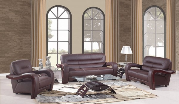 HomeRoots Brown Leather Glamorous 3pc Living Room Set OCN-329510