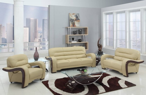HomeRoots Beige Leather Glamorous 3pc Living Room Set OCN-329514