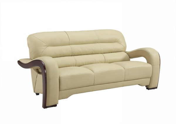 HomeRoots Beige Leather Glamorous Sofa OCN-329515