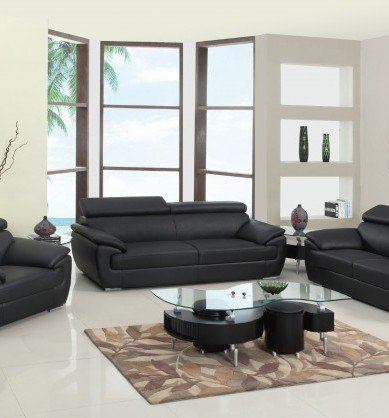 HomeRoots Black Leather Captivating Sofa OCN-329519