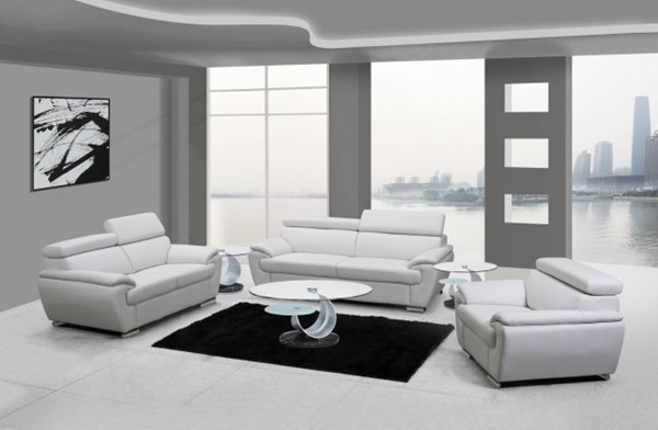 HomeRoots White Leather Captivating 3pc Living Room Set OCN-329522