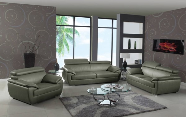 HomeRoots Gray Leather Captivating 3pc Living Room Set OCN-329526