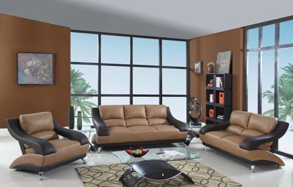 HomeRoots Two Tone Leather Dazzling 3pc Living Room Set OCN-329530