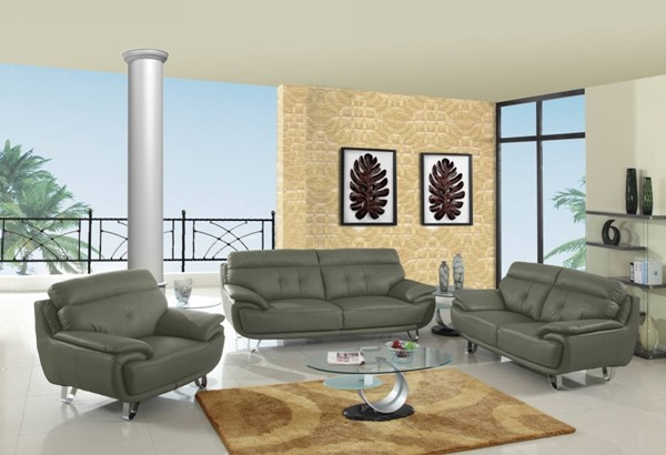 HomeRoots Gray Leather Fascinating 3pc Living Room Set OCN-329549