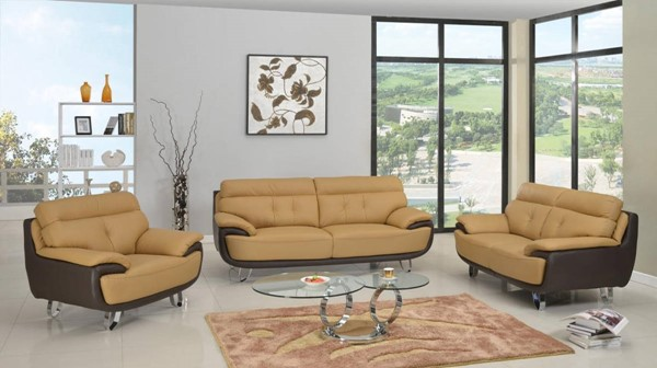 HomeRoots Two Tone Leather Fascinating 3pc Living Room Set OCN-329553
