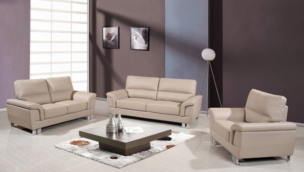 HomeRoots Modern Beige Leather 3pc Living Room Set OCN-329557