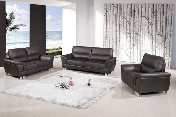 HomeRoots Modern Brown Leather 3pc Living Room Set OCN-329561