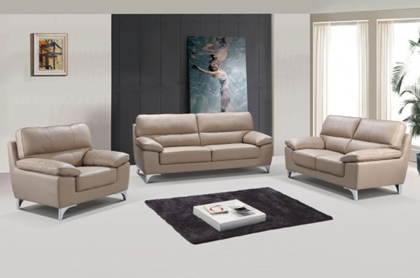 HomeRoots Modern Beige Leather Classy 3pc Living Room Sets OCN-329565-LR-S-VAR