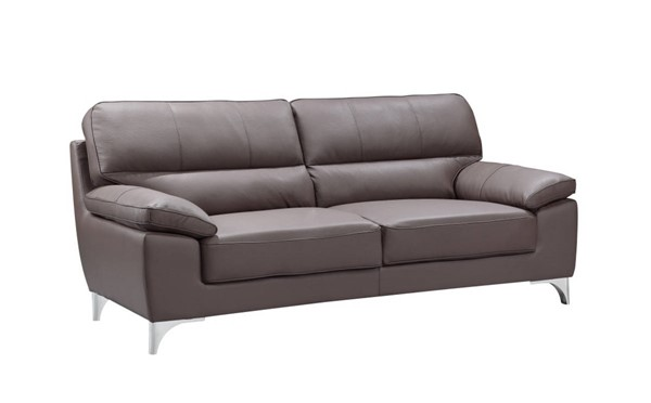 HomeRoots Modern Brown Leather Classy Sofa OCN-329570