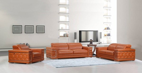 HomeRoots Camel Leather Sturdy 3pc Living Room Set OCN-329584