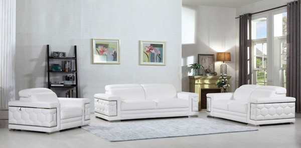 HomeRoots White Leather Sturdy 3pc Living Room Set OCN-329592
