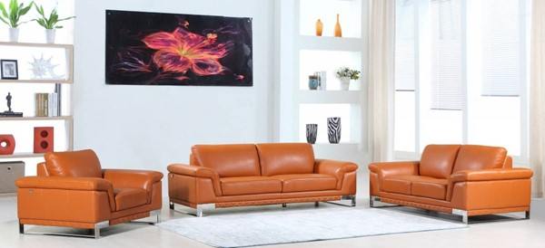 HomeRoots Modern Camel Leather Lovely 3pc Living Room Set OCN-329608