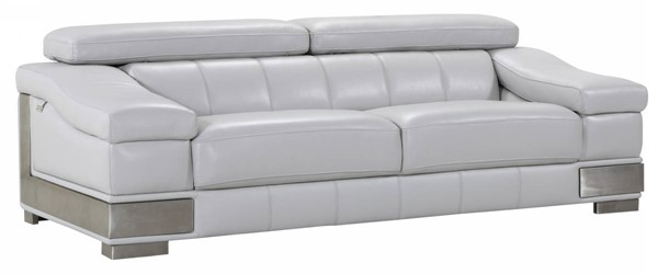 HomeRoots Light Gray Leather Lovely Sofa OCN-329621