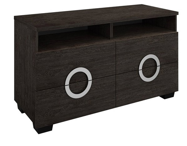 Homeroots Grey High Gloss Wood 27 Inch TV Entertainment Unit with 2 Shelf OCN-329648