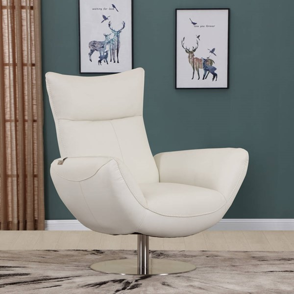 HomeRoots Contemporary White Leather Lounge Chair OCN-329696