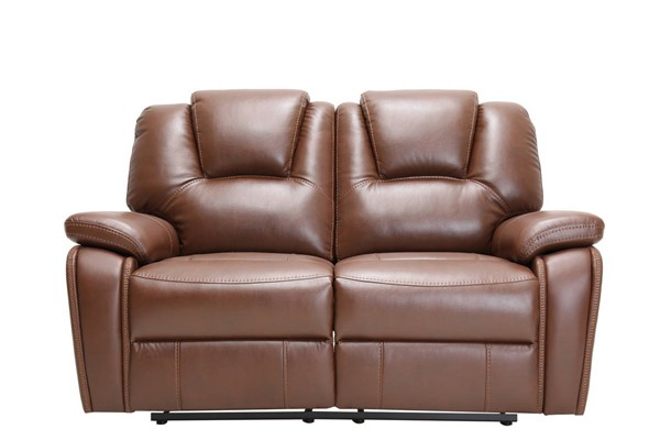 HomeRoots Contemporary Brown Leather Loveseat OCN-329699