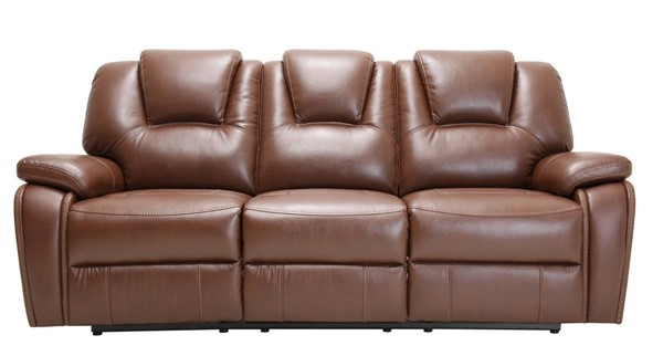 HomeRoots Contemporary Brown Leather Power Reclining Sofa OCN-329701