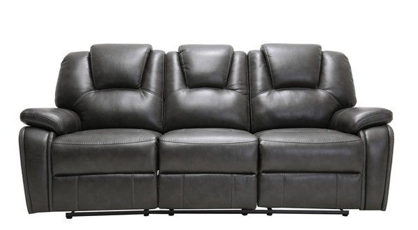 HomeRoots Contemporary Gray Leather Power Reclining Sofa OCN-329707