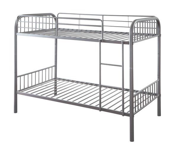 HomeRoots Gunmetal Twin Over Twin Bunk Bed OCN-332365