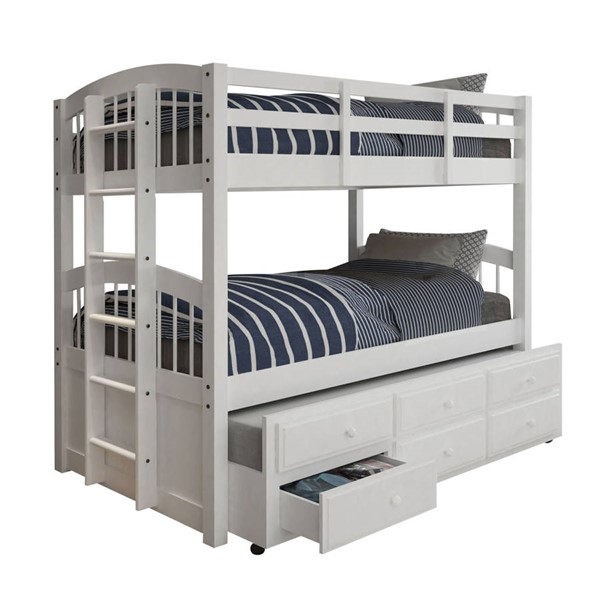 HomeRoots White Wood Trundle 3 Drawers Twin over Twin Bunk Bed OCN-332368