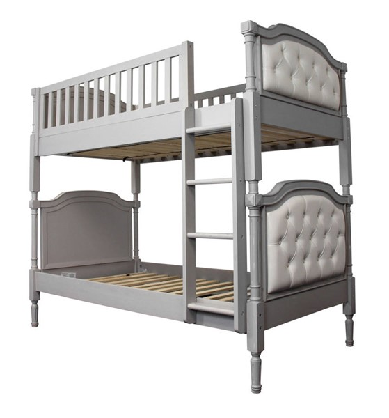 HomeRoots Pearl PU Antique Gray Wood Twin Over Twin Bunk Bed OCN-332369