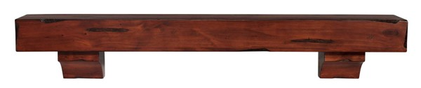 Homeroots Rustic Cherry Distressed Pine Wood 72 Inch Mantel Shelf OCN-332394
