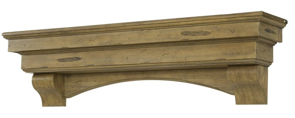 Homeroots Dune Pine Wood 48 Inch Graceful Mantel Shelf OCN-332435