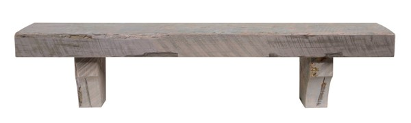 Homeroots Reclaimed Solid Pine Driftwood 60 Inch Shelf Andecorbels with Brackets OCN-332472