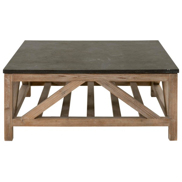 Orient Express Bella Smoke Gray Blue Stone Square Coffee Table OEF-8022SQ-SGRY-PN-BLU