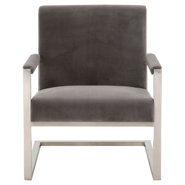 Orient Express Bowie Brushed Stainless Steel Club Chair OEF-6653-DGRY-BSTL